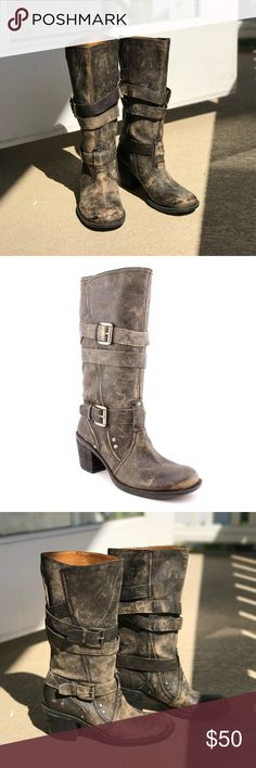 Nine West Dimaris Vintage Collection Boots Brand Nine West Nine West 'Dimaris' Vintage Collection Leather Boots. Distressed colored black. Mid-Calf. Medium width style. Leather Upper. Man-Made 15.5 Inch Circumference, 2 1/2 Inch Heel, And 14 Inch Total Boot Height With Heel Nine West Shoes Combat & Moto Boots