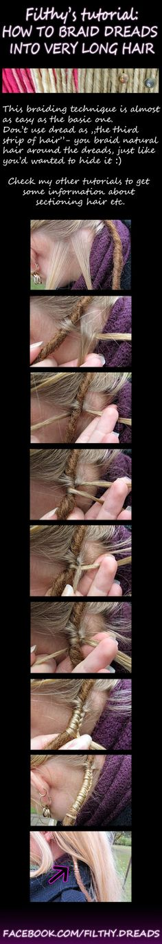 Installing DE dreads into long hair by FilthyDreads
