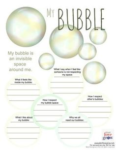 Self care - My Bubble - visualization & alternative thinking strategy for Anxiety & Stress (CBT, DBT, Meditation,Mindfulness) therapy activities autism Counseling Activities, Art Therapy Activities, Self Care Activities, Physical Activities, Group Activities For Adults, Coping Skills Activities, Bubble Activities, Mental Health Activities, Bullying Activities