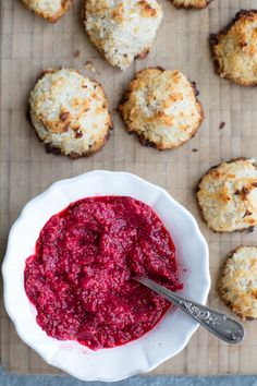 Coconut Macaroons with Raspberry Chia Jam