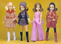 Vintage early 70s Mod Fashion Sindy dolls.
