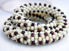 Bracelet Bead Crochet Bangle Berries and Cream by LanmomOriginals