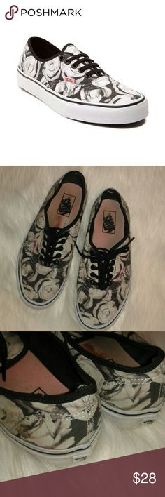 Rose printed VANS Sz 9 Womens, great used condition. Some scuffs and dirty places, mostly on bumper. Some wear to top if left heel area,  as shown...nothing major. Vans Shoes Sneakers