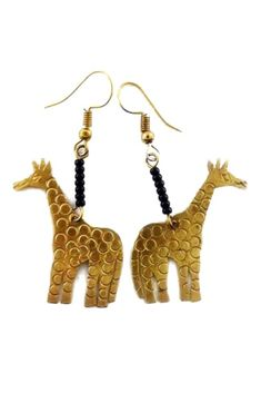 Giraffe Earrings |, Gold Giraffe Earrings, Gold Plated Earrings | Animal Earrings | Drop Earrings | Dangling Earrings | Dangle Earrings