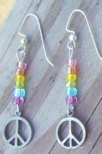 peace charms with glass rainbow beads