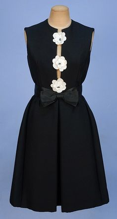 c. 1965 HUBERT LATIMER for IRENE Black Wool DRESS, w/White cloth beaded center flowers, hidden pockets, Satin ribbon belt...