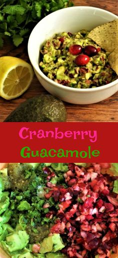Cranberry guacamole is a nice change from the regular guacamole. And the beautiful colors are perfect for any get together. My Recipes, Snack Recipes, Cooking Recipes, Snacks, Vegan Gluten Free, Vegan Vegetarian, Hot Salsa, Latte, Mashed Avocado