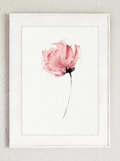 Flower Abstract Art Print Pink Floral Home Decor - Watercolor flower wall decor. Pink flowers decoration gift -Watercolor Flower Abstract Art Print Pink Floral Home Decor. Abstract Flower Art, Art Floral, Blue Abstract, Flower Wall Decor, Flower Decorations, Watercolour Painting, Watercolor Flowers, Watercolors, Painting Walls
