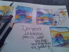 Playing with Derwent Inktense pencils and water. (Trading color positions on simple drawing)