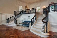 Double Staircase, Grand Staircase, Grand Foyer, Grand Entrance, Stone Mansion, H & M Home, Mansions For Sale, Staircase Design, Concrete Staircase