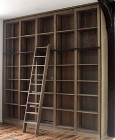 Ladder Rail - looks like a better way (in terms of cost and storing the ladder when needed) to have a library ladder - Home Decor Styles Library Ladder, Library Wall, Bookcase With Ladder, Library Shelves, Home Library Design, House Design, Book Design, Home Libraries, Deco Design