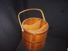 Large Vintage Wooden Bucket with Two Dividers - Awesome! #NaivePrimitive