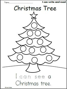 "Free Christmas tree trace, read, and, color worksheet for beginning readers in preschool and Kindergarten. Trace the word ""can see"" to complete the sentence, then read the simple senten…"