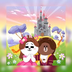 Cute Couple Cartoon, Cute Love Cartoons, Line Cony, Cony Brown, Lines Wallpaper, Cute Love Gif, Bunny And Bear, Character Design Animation, Line Friends