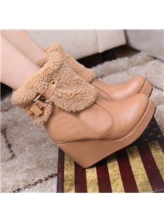 Womens Fur Top Leather Buckle Ankle Snow Boots Wedge Heel Platform Shoes Plus Sz Shoe Boots, Ankle Boots, Shoes, Cheap Boots, Lace Up Wedges, Boots Online, Wedge Heels, Slippers, Booty