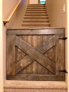 A lot of DIY home decor improvements can be done with pallets like this baby safety gate - 20 Excellent #Pallet Furniture Projects | 101 Pallets - Part 2 by TeriLS #DIYHomeDecorPallets