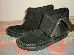 Minnetonka Moccasin Black 8405 Leather Ankle Boots Sock Shoes Women's Size 7 | eBay