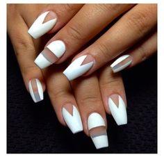 White geometric and transparent nail art
