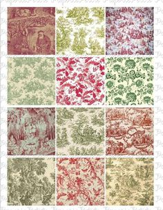 Red and Green Holiday Toile Digital Download by PetitePaperie