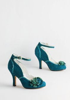 Savor the Superb Heel in Teal by Poetic License - High, Leather, Suede, Blue, Green, Solid, Flower, Special Occasion, Prom, Wedding, Party, Vintage Inspired, 20s, Colorblocking, Darling, Best, Variation, Buckles