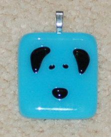 Fused Glass Dog Pendant turquoise and black by KarlaElyGlass, $22.00 Custom order one for yourself or someone on your xmas list!