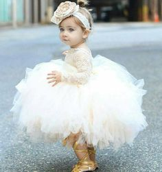 The Tulle Flower Girl Dresses Which Match The Flowers Baby Infant Toddler  Pageant Clothes Flower Girl Dress, Long Sleeve Lace Tutu Dress, ...