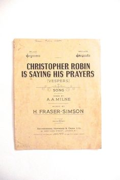 Vintage Sheet Music Christopher Robin Is Saying His Prayers by AA Milne by TickleAndFinch