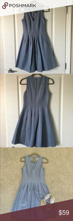 JCrew Sophie Dress J. Crew Sophie Dress in Classic Faille. Size 0. Color is a grey blue. Worn once. Dry cleaned once. No alterations done. Fits true to size. J. Crew Dresses