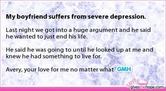 My boyfriend suffers from severe depression. - True love - Love Gives Me Hope Cute Love Stories, Sweet Stories, Sad Stories, Love Gives Me Hope, Writing Prompts Funny, Touching Stories, Faith In Humanity Restored, Sad Love Quotes, Cute Relationships