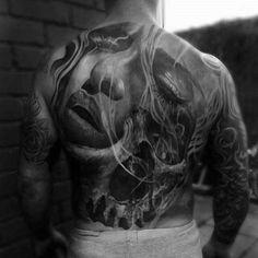 40 Skull Back Tattoo Designs For Men - Masculine Ink Ideas Weird Tattoos, Sweet Tattoos, Skull Tattoos, Body Art Tattoos, Tattoos For Guys, Cool Tattoos, Tatoos, 3d Tattoos, Badass Tattoos