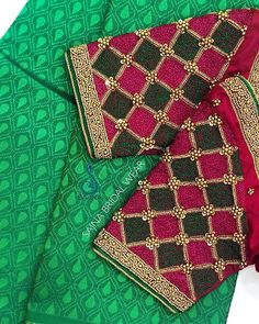 customizes Exclusive Bridal robes that can be customized for your wedding day and also your honeymoon! Cutwork Blouse Designs, Patch Work Blouse Designs, Hand Work Blouse Design, Wedding Saree Blouse Designs, Maggam Work Designs, Simple Blouse Designs, Stylish Blouse Design, Wedding Sarees, Hand Embroidery Design Patterns