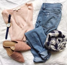 cozy spring flatlay. spring outfit. casual outfit. cozy fashion. outfit with mules