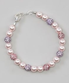 Crystal Dream Stylish Pink Swarovski Simulated Pearls with Purple and Rose Pave Beads Sparkly Baby Girl Keepsake Bracelet BSHM_L *** More info could be found at the image url. Baby Jewelry, Girls Jewelry, Handmade Bracelets, Jewelry Bracelets, Handmade Jewelry, Bracelet Making, Jewelry Making, Beaded Jewelry Patterns, Bracelet Tutorial
