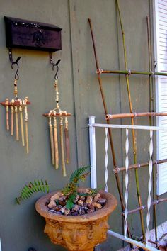 bamboo trellis and bamboo wind chimes