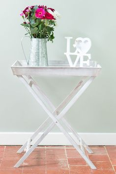 Elegant Grey Limewash Butlers Tray Table Folding Serving Tray Portable Side Table  Breakf
