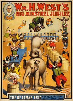 Wm. H. West's Big Minstrel Jubilee: The De Elmar Trio, vaudeville poster, 1900 | Flickr: Intercambio de fotos
