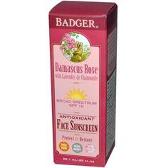 Badger Company, Antioxidant Face Sunscreen, SPF 16, Damascus Rose, .85 fl oz (25.1 ml) - iHerb.com