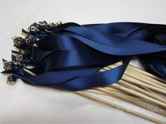 50 Wedding Wands DOUBLE streamer with bells.  Ribbons and/or lace your choice of colors Navy