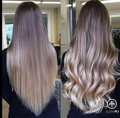 Hair glossy shine ombre balayage Brown brunette ashy blonde blond soft curls waves long hair