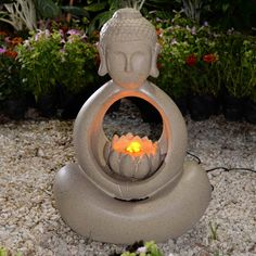 Jeco Buddha Indoor/Outdoor Fountain with LED Light | from hayneedle.com