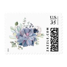 Rustic Chic Watercolor Succulents Floral Postage