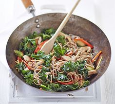 Chicken, kale and sprout stir fry. Brussels sprouts aren't just for Christmas- add them to a healthy noodle pot for extra nutrition and crunch Bbc Good Food Recipes, Diet Recipes, Healthy Recipes, Healthy Meals, Recipies, Kale Sprouts, Brussels Sprouts, Kale Stir Fry, Chicken Ham