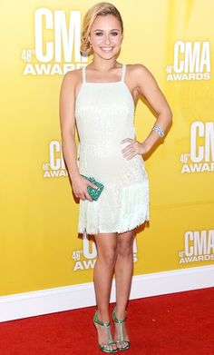 "CMA Awards 2012: Hayden Panettiere, The Nashville star chose a Georges Chakra Couture mini featuring pearls and fringe for the evening. ""I love the people here,"" Hayden Panettiere said of her new southern home, where she lives now to film the ABC show as young country starlet Juliette Barnes"