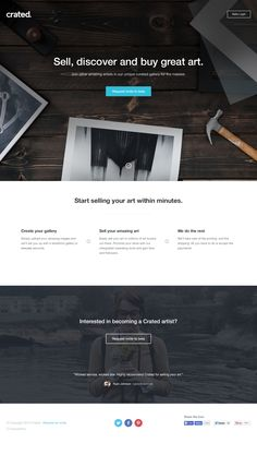 Responsive launching soon page for 'Crated' a new marketplace for art lovers. Great choice of intro image and icons. Good luck, looks promising!
