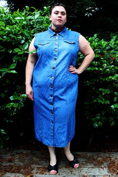 Plus Size - Vintage Denim Sleeveless Button Front Denim Maxi Dress by TheCurvyElle, $45.00
