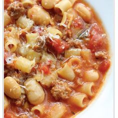 Sausage and Bean Soup with Pasta- I would probably just adjust my own pasta fagilo recipe for this