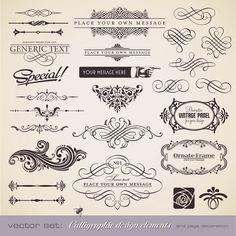 Set of vector vintage decorative ornate elements