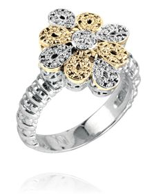 Ring in 14k Gold/Sterling Silver with 0.15 Diamond #VahanFleurdeLys #VahanPinterest