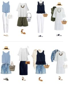 Travel wardrobe summer, capsule wardrobe summer, stylish outfits, classic w Summer Vacation Outfits, Travel Outfit Summer, Summer Fashion Outfits, Stylish Outfits, Simple Wardrobe, Wardrobe Basics, Summer Wardrobe, Professional Wardrobe, Work Wardrobe