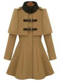 Camel High Neck Long Sleeve Buckle Strap Cloak Coat - Sheinside.com